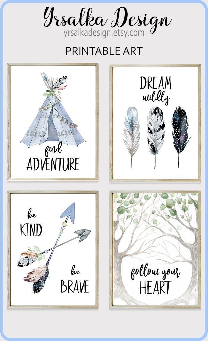 Kids Wall Decor Arrows Teepee, Tribal Nursery Print