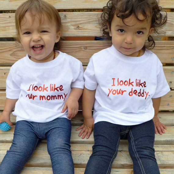 "Fraternal twins shirts with ""I look like your mommy"" or ..."