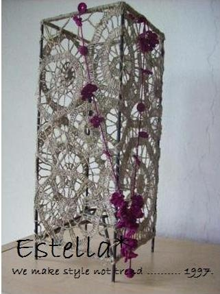 Hande crochet lamp shade...with mini flower necklace.