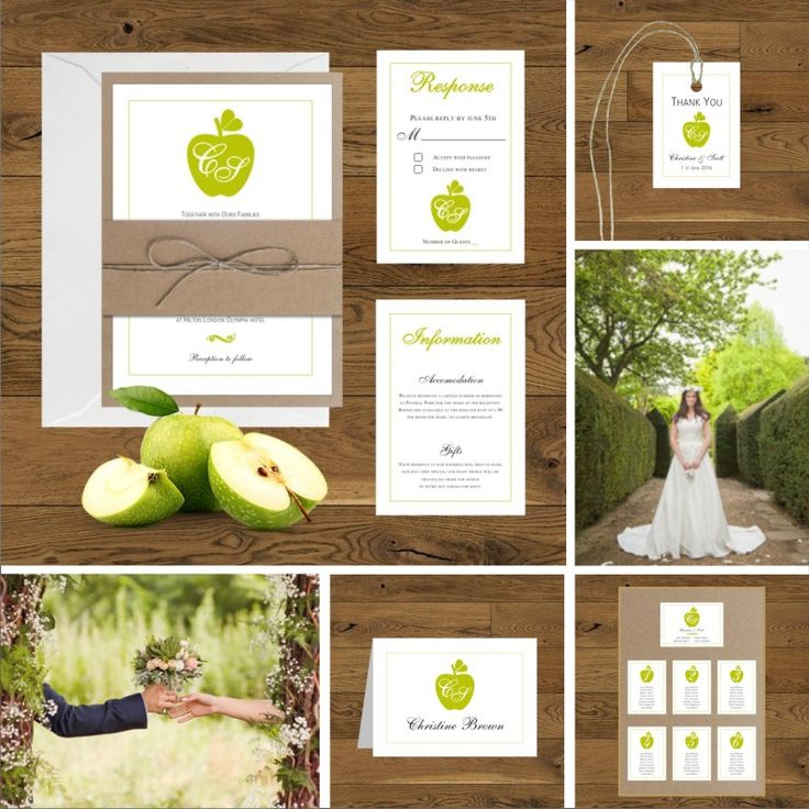 Zaproszenia slubne z zielonym jabłkiem