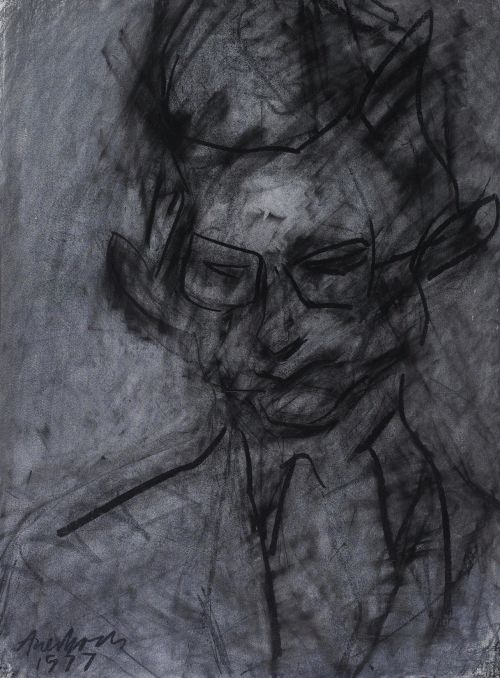 thunderstruck9: Frank Auerbach (British, b. 1931), Portrait of Christopher Dark, 1977. Charcoal and chalk on paper, 29 x 22 in.