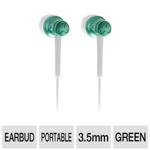 FREE Buy Dealz ::Memorex EB50 Earbuds - 20Hz-20kHz, 89dB, 16 Ohms, 3.5mm Jack, Green (4 Color Options)