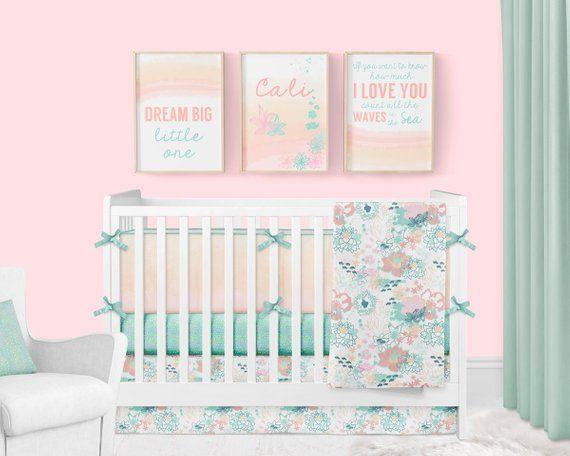 Girl Crib Bedding Ocean Baby Girl Nursery Floral Crib Bedding Nautical Coral And Mint Beach Nursery Crib Bumpers Baby Blanket Art Crib Bedding Girl Floral Crib Bedding Beach Nursery