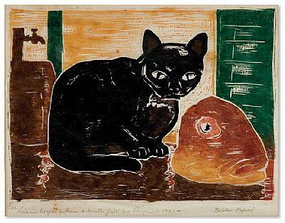 """Xilogravura de Goeldi, """"Gato e cabeça de peixe"""". A MELHOR com certeza!"""