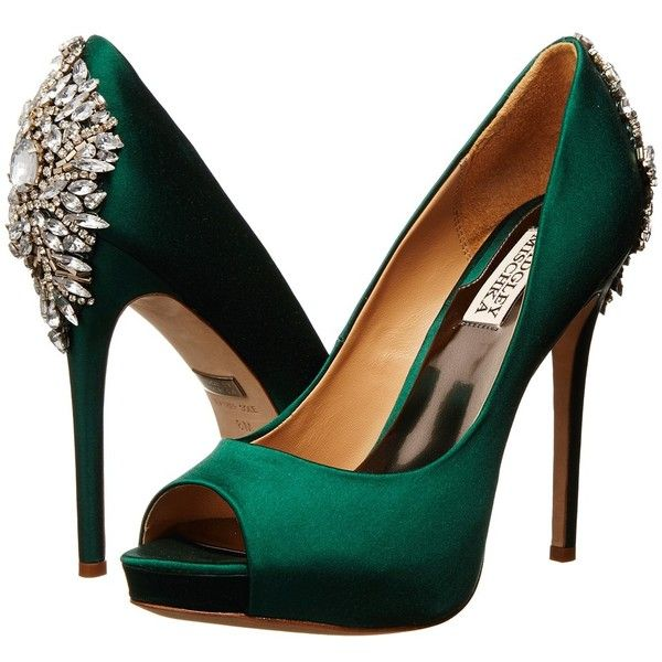 Badgley Mischka Kiara (16,265 INR) ❤ liked on Polyvore featuring shoes, pumps, heels, green, emerald green satin, rhinestone pumps, high heel platform shoes, green pumps, badgley mischka pumps and green high heel shoes