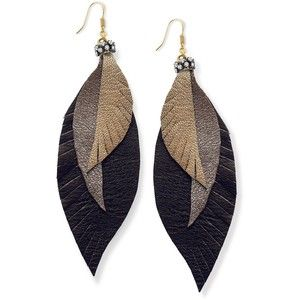 Ali Khan , Gold Tone Leather Feather Earrings