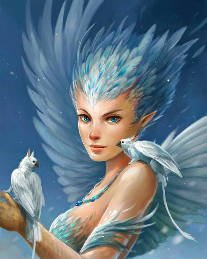 Elise, one of the five only known harpies in the realms. She can freeze you with her breath and turns animals to sculptures with one touch.