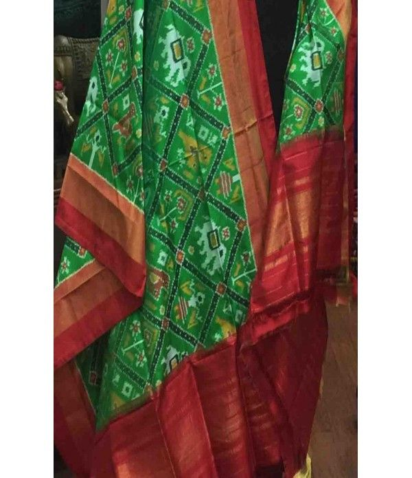 Green Pure Handloom Double Ikkat Patola Silk Dupatta