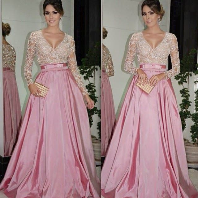 Find More Evening Dresses Information about Sexy A Line Dubai Kaftan Robe de Soiree 2015 Evening Dress With V  Neck Long Sleeve Vestido de Festa Prom Gown Party Dresses A8,High Quality Evening Dresses from Romantic bride wedding dress Suzhou Co., Ltd. on Aliexpress.com