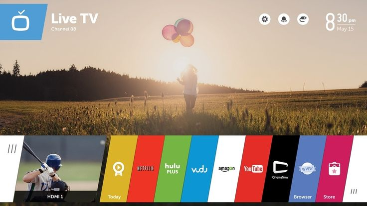 Flat design interface for smart TVs with horizontally organized app cards. WebOS by LG.