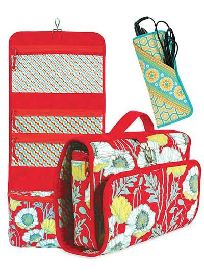 Carry your travel essentials in style!   This set includes a hanging organizer with 3 see-through pockets for quickly finding your items, as well as a deep, zippered pocket on the bottom for storing larger items. Also included is a pattern for a flat iron sleeve to safely and conveniently store your curling or flat iron and the cords. You could even use these bags to transport sewing supplies and projects! The organizer can also be made with a padded handle and optional, detachable carrying…