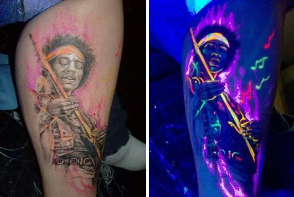 #Tattoos Black light tattoos or glow in the dark tattoos is a part of a new growing trend in the body art world. These tattoos are created by using ultraviolet (UV) reactive ink. Because these tattoos are created with such ink, they're tattoos are nearly invisible in the daytime and can only be seen underneath a black light.