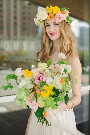 Maxit Flower Design; Citrus Summer Bouquet and Floral Crown, daffodils, tulips, viburnum, parrot tulips, garden roses, poppies,