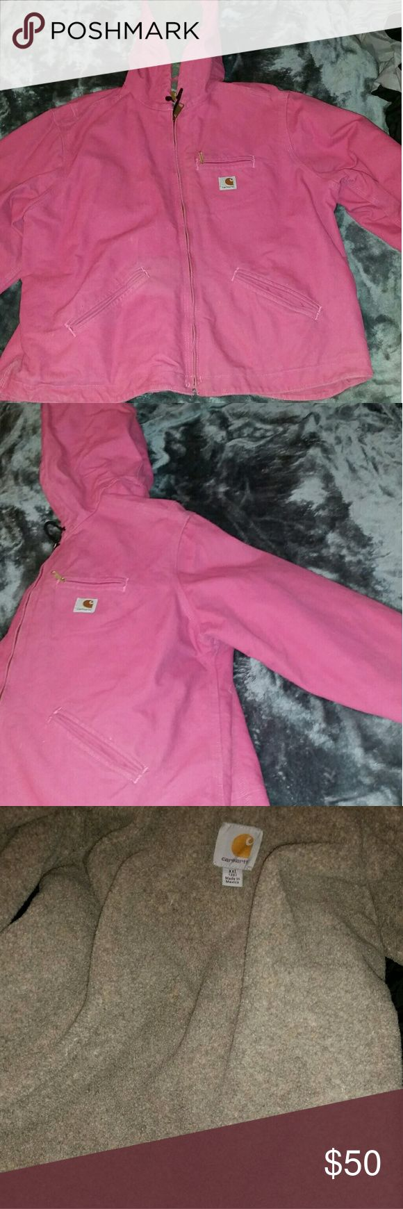 Pink Carhartt Super warm and comfortable. A little bit of discoloration along seams but not noticeable. Carhartt Jackets & Coats
