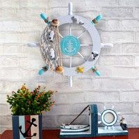 DÉCORATIONS DE PLAGE Wish | Mediterranean Wood Boat Wheel Fishing Nautical Beach Home Rudder Wall Hanging Room Decor