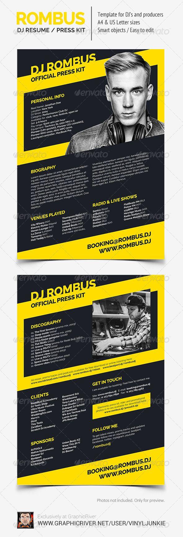 16 best DJ Press Kit and DJ Resume Templates images on Pinterest ...
