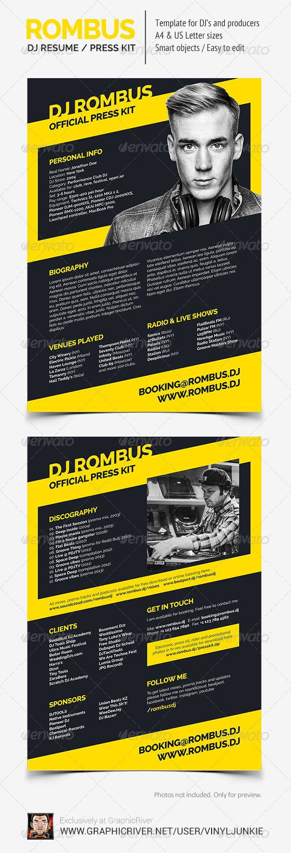 15 best images about dj press kit and dj resume templates on