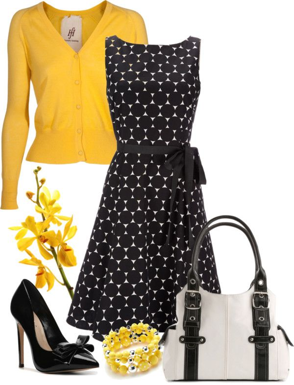 """Black & white polka dot dress"" by lisariverarph on Polyvore"