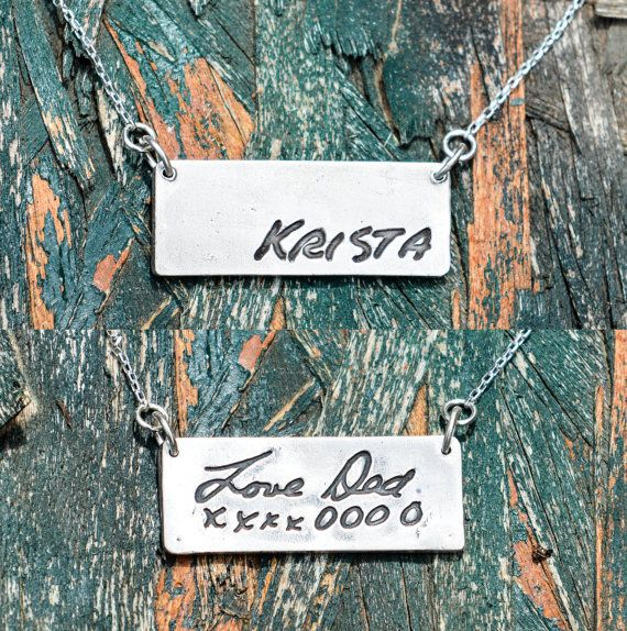 Memorial Jewelry - Actual Writing put on a pure silver pendant attached to a sterling silver chain. - Get 10% OFF with coupon code PINIT when purchasing on Etsy