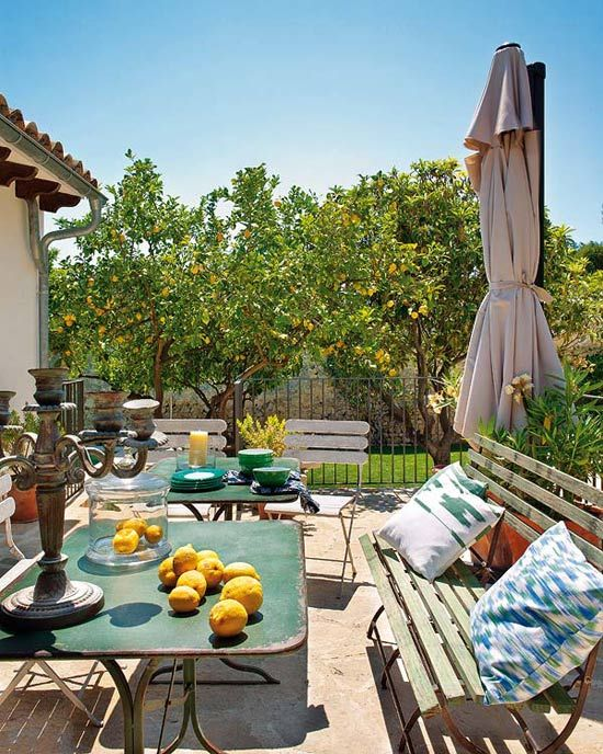 Love the tables, chairs...Image Via: Desire to Inspire: Good Home-Coming, House Blue-Clear, Outdoor Living, Dutch Doors, Interiors Design, Mallorca Spain, Outdoor Spaces, Lemon Trees, Summer Houses
