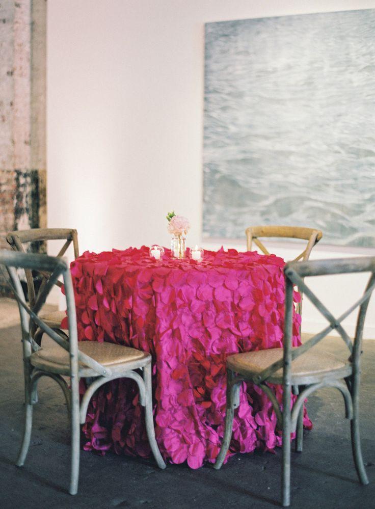 Hot Pink Petal Tablecloth, Petal Table Linens, Hot Pink Fuchsia Wedding