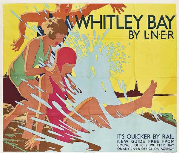 LNER railway poster Tom Purvis (1888-1959) WHITLEY BAY lithograph in colours, c.1935