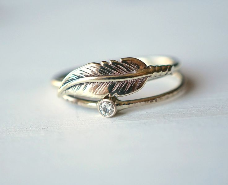 Moissanite Ring, Feather Ring, Ring Set, Sterling Silver Ring, 14k Gold Ring, Stacking Ring Set, Wedding Ring, Engagement Ring, Gift for her by Luxuring on Etsy