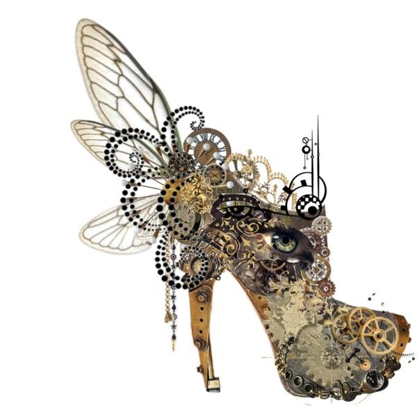 McQueen Steam 2 by fumichan on Polyvore featuring art, steampunk, clockwork, mcqueen, fairy, shoe, shoes and steam punk