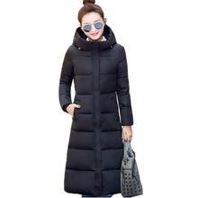 2016 Nuevo diseño de invierno largo abrigo de las mujeres chaqueta de algodón acolchado más el tamaño del color del caramelo Chaquetas y Abrigos verde negro rojo F1002(China (Mainland))