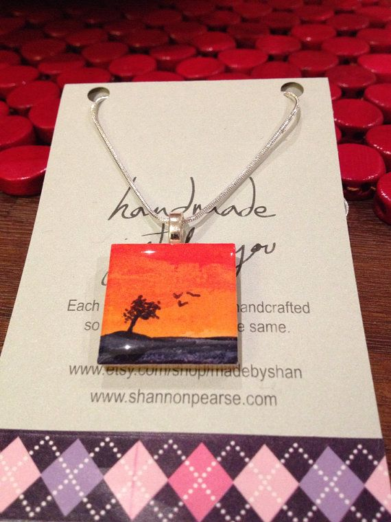 Hand Painted Resin Pendant  Sunset sky with birds by madebyshan, $35.00