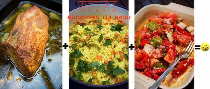 Friptura de ceafa de porc intreaga la cuptor, pilaf de orez, salata de legume coapte.