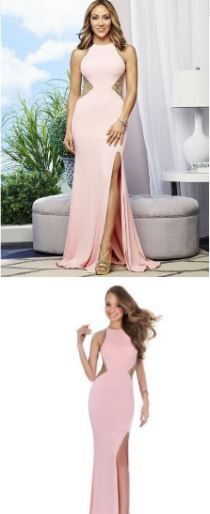 Melissa Gorga's Pink & Gold Embellished Cutout Gown http://www.bigblondehair.com/real-housewives/rhonj/melissa-gorga-fashion/melissa-gorgas-pink-gown-gold-embellishment/ Real Housewives of New Jersey Season 7 Fashion