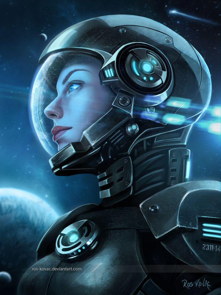 2311-14 by Ros-Kovac female astronaut portrait spacesuit helmet armor clothes…
