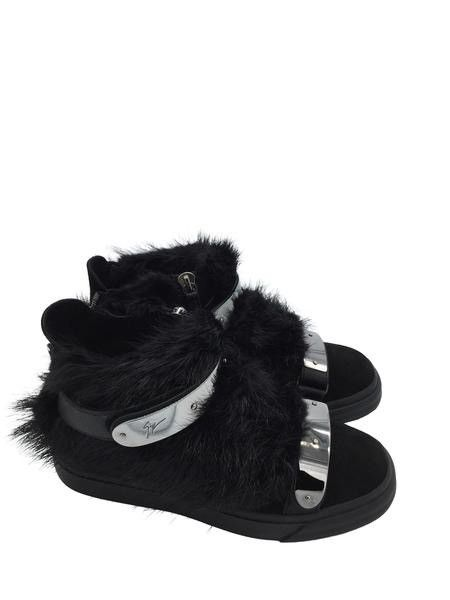 GIUSEPPE ZANOTTI Black Fur And Suede 'london' High-Top Sneakers