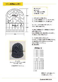 アラン風縄編み帽子編み図1
