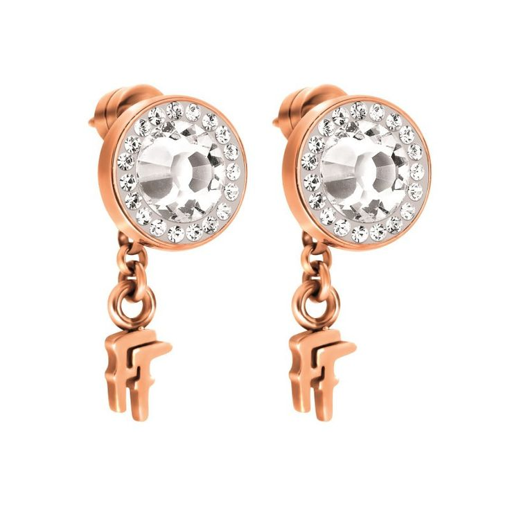 Folli Follie Classy Flash Stud Earrings Clear Stone
