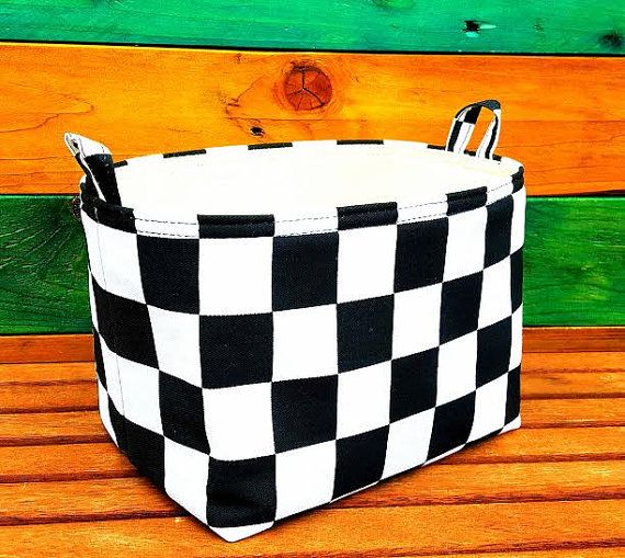 FORMULA1 STORAGE BASKET Black White Checked by VintageFromChris