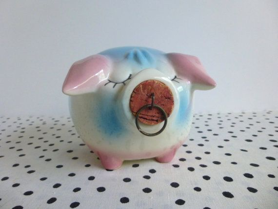 Vintage Corky Pig Piggy Bank Hull Pottery by ForestHillsVintage
