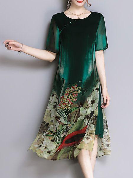 40c025dd5d Shop Midi Dresses - Women Green Plus Size Vintage Elegant Shift Midi Dress  online. Discover