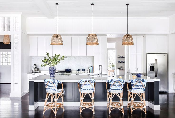 Kitchen from Hamptons-style 1920s Queenslander in Brisbane. Photography: Maree Homer | Styling: Kate Nixon