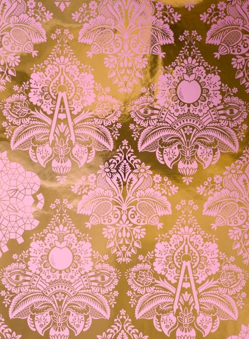 "This wallpaper by Flavor Paper is a soft baby pink whimsical damask on a metallic gold background. The paper is hand screened using water based eco-solvent inks and printed only on the finest materials. * 3 ROLL MINIMUM ORDER -Price is per roll -Each roll is 27"" wide and 5 yards long -Side-..."