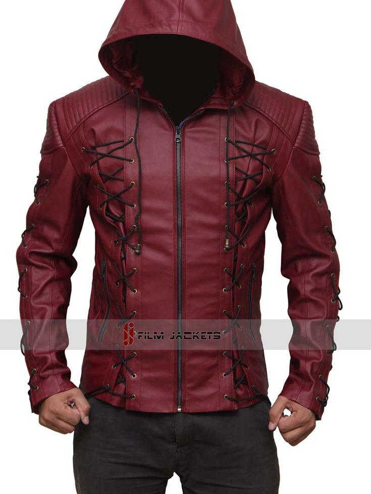 Arsenal Red Hood Leather Jacket