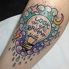 Lightbulb tattoo #optimism #pastel #rain #tattoo #lightbulb #moon #lightening…