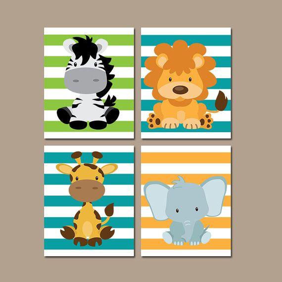 BEBÉ ANIMAL pared arte, animales de Safari, Baby Boy vivero arte, tema del Safari de selva, lona o impresiones, conjunto de 4 Zebra León jirafa elefante