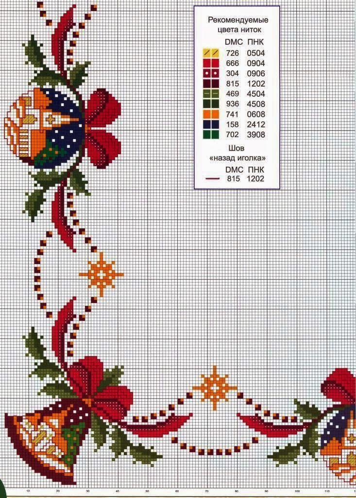 gráfico ponto cruz barrado de natal motivos natalinos