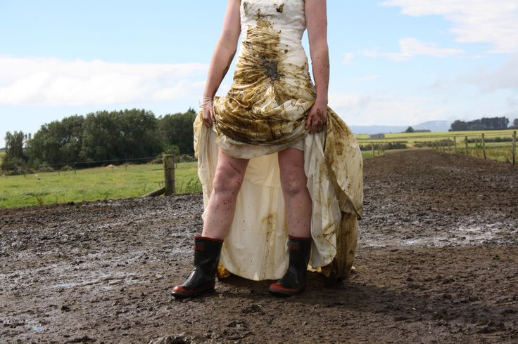 Trashed my dress on the dairy farm I work on in Invercargill at the bottom of New Zealand.