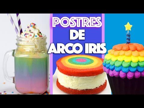 POSTRES DE ARCO IRIS, Cake de Arco Iris, Galletas Arco Iris, Cupcakes Sorpresa de Arco Iris - YouTube