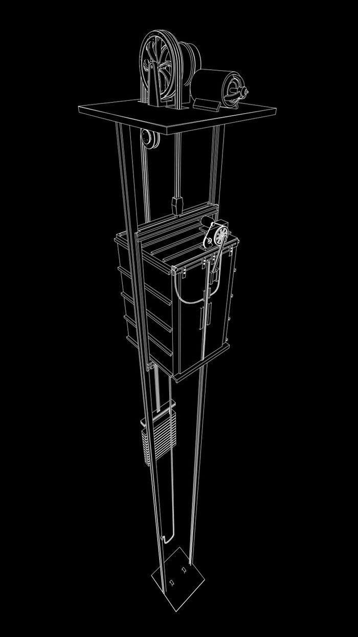 lift diagram, 3D illustration : by Disko Ferdi Dick