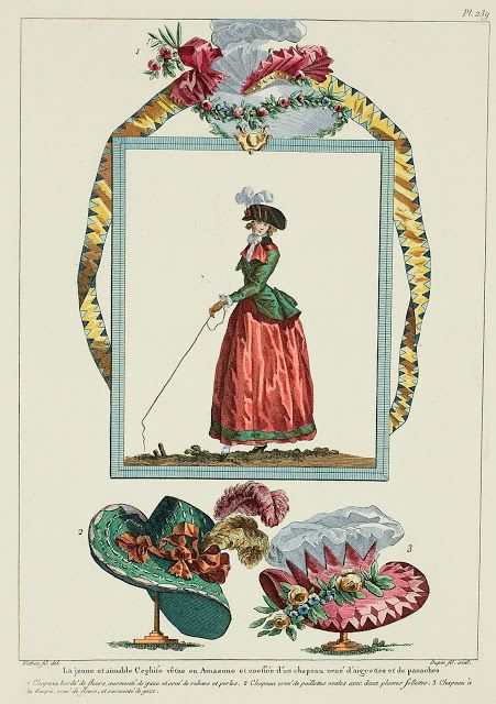 """Galierie des modes, 51e cahier, 4e figure, 1786, A Most Beguiling Accomplishment (the pink hat at the bottom is awesome) """"The young and amiable Cephise dressed en Amazone and coiffed with a hat trimmed with aigrettes and panaches. 1. Hat edged with flowers, surmounted with gauze and trimmed with ribbons and pearls. 2. Hat trimmed with oval sequins with two follette plumes. 3. Hat a la harpie, trimmed with flowers, and surmounted with gauze."""