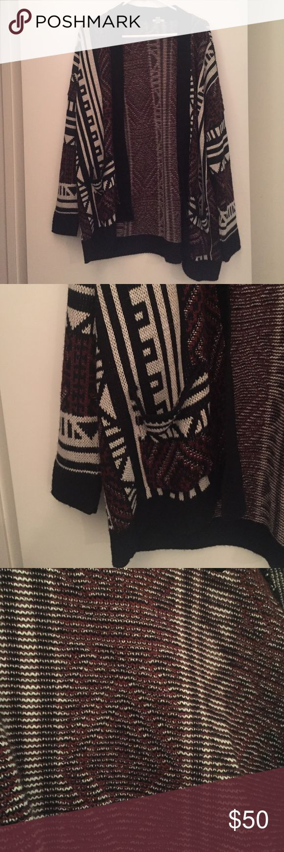 TRIBAL PRINT OPEN SWEATER NEVER WORN MARRON BLACK AND WHITE TRIBAL PRINT OVER SIZED OPEN SWEATER WITH POCKETS Urban Outfitters Sweaters Cardigans